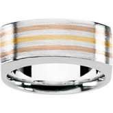Ladies Fashion Ring Sterling Silver and 18kt yellow / 18kt red Inserts