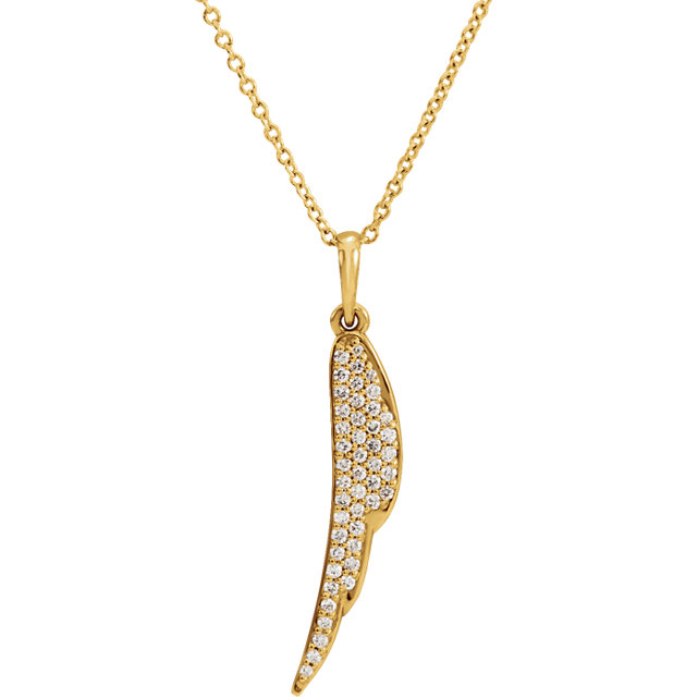 "14kt Yellow 1/5 CTW Diamond Feather 16-18"" Necklace"
