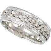 7.5mm Hand Woven Comfort Fit Ladies or Gents Wedding Band