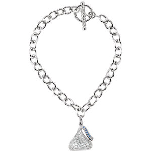 Sterling Silver HERSHEYS KISSES Flat Back Cubic Zirconia Charm 7.5
