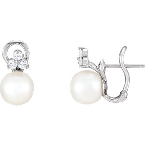 14kt White Freshwater<br> Aultured Pearl & A/  ATW<br> Diamond Earrings