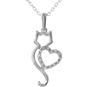 "10K White .05 CTW Diamond Cat Silhouette with Heart 18"" Necklace"