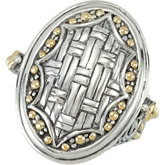 Sterling Silver Fashion Ring with 18KY Accents