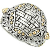 Sterling Silver & 18kt Yellow Design Ring