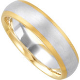 6mm Two Tone Comfort Fit Ladies or Gents Wedding Band
