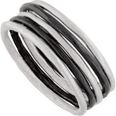 Set of 5 Stackable Rings, 2 of 5 with Black Rhodium Plating