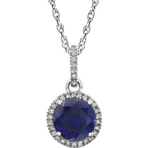 14kt White Areated Blue<br> Sapphire & 1/1  ATW<br> Diamond 1