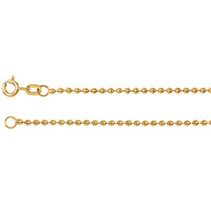 "14K Yellow 1.75mm Hollow Bead 7"" Chain"