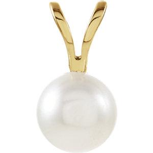 14kt Yellow 5mm Akoya Aultured Pearl Pendant