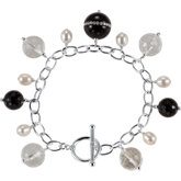 Onyx, Crystal & Freshwater Cultured Pearl Bracelet