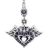Black CZ Double Wing & Heart Charm