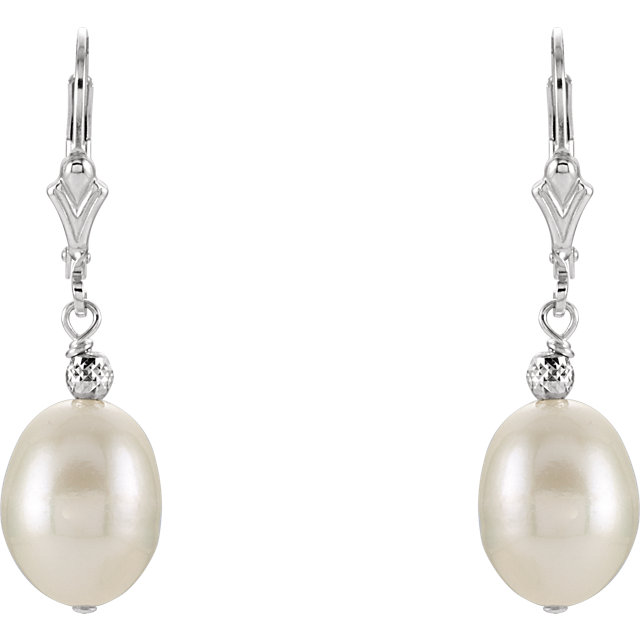 Sterling Silver 9-9.5mm Freshwater Cultured Pearl Earrings