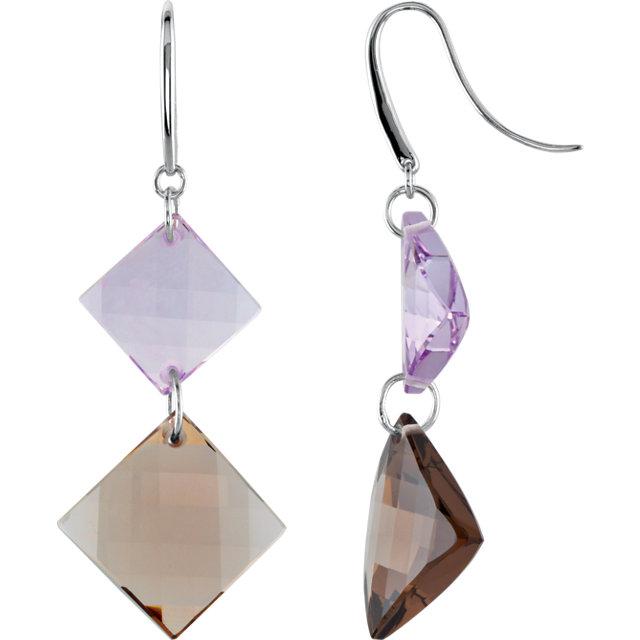 Clear & Smoky Quartz Dangle Earrings