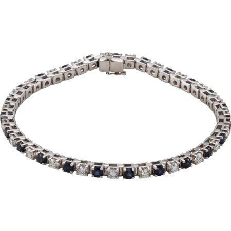 14K White Blue Sapphire & 2 1/3 CTW Diamond Bracelet