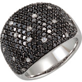 3 ct tw Black & White Diamond Ring with Black Rhodium Plating