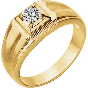 14K Yellow 3/8 CTW Diamond Men's Ring