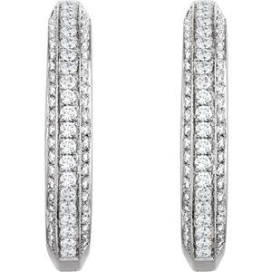 14K White 3//4 CTW Diamond Hoop Earrings
