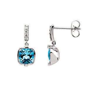 Swiss Blue Topaz &<br> Diamond Earrings