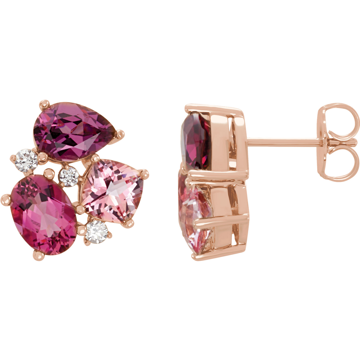 14kt Rose Multi-Gemstone & 1/6 CTW Diamond Earrings