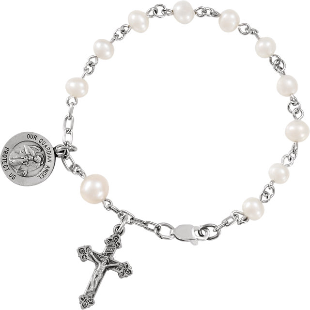 Sterling Silver Pearl Our Guardian Angel Rosary Bracelet