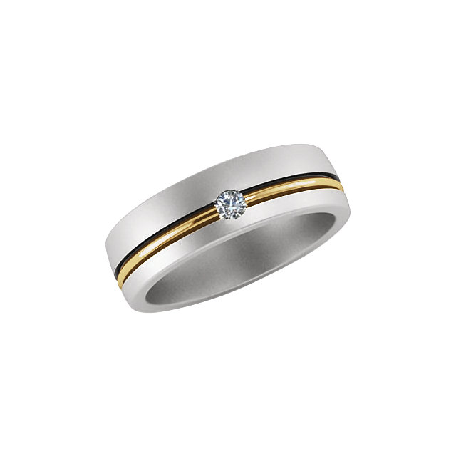 14K White & Yellow .07 CTW Diamond 6mm Grooved Band Size 11
