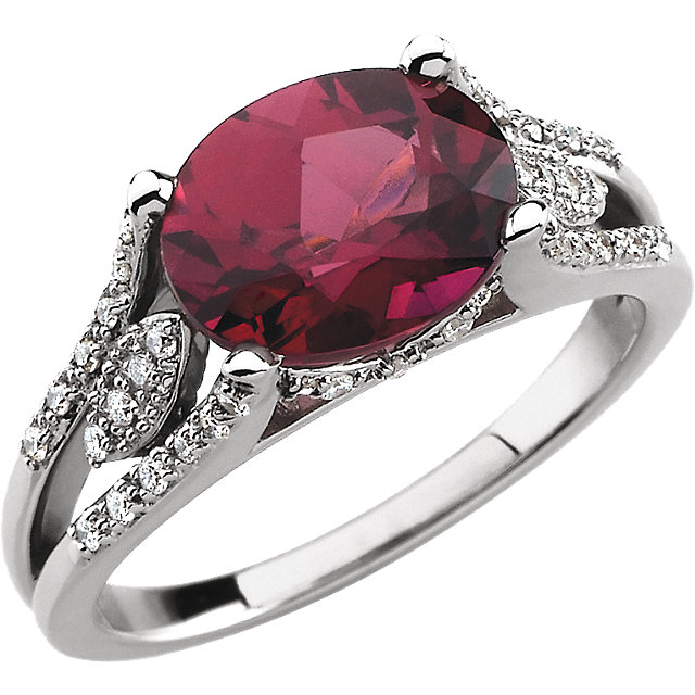 Oval Ring MM AA Faceted, Genuine Garnet Rhodolite - Oval Faceted; AA Quality; REDDISH PURPLE