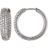 Cubic Zirconia Hinged Inside/Outside Hoop Earrings