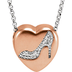 ".015 CTW Diamond ""Shoe"" Heart Necklace"