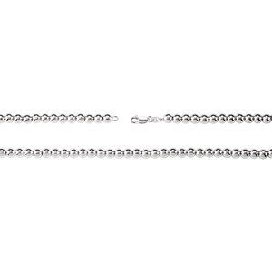 "Sterling Silver 6mm Hollow Bead 7"" Chain"