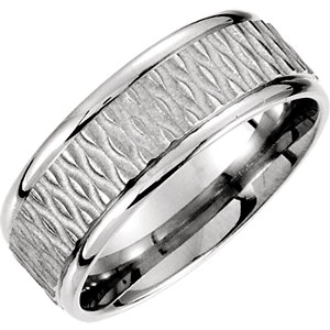 Fancy 8mm Patterned Carved Band