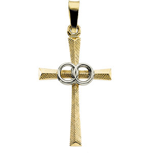 Two Tone Cross Pendant with Wedding Bands