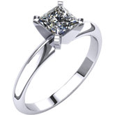 Square/Princess 4-Prong Light Shank Solitaire Ring Mounting