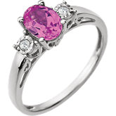 Gemstone & Diamond Accented Ring