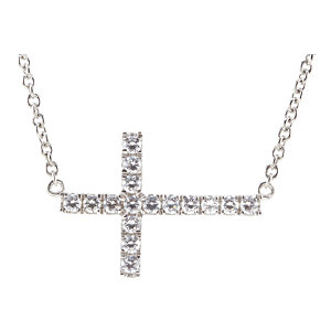 "Sterling Silver Cubic Zirconia Sideways Cross 18"" Necklace"