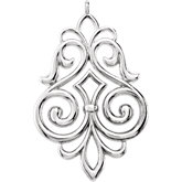 Fleur-de-Lis Scroll Dangle Component with Jump Ring