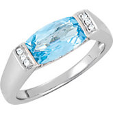 Genuine Swiss Blue Topaz & Diamond Ring