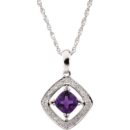 14K White Amethyst & 1/10 CTW Diamond 18