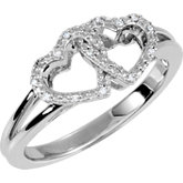 .05 CTW Diamond Double Heart Design Ring