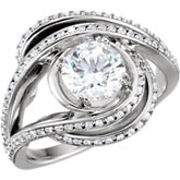 Diamond Accented Semi-Mount Engagement Ring or Mounting