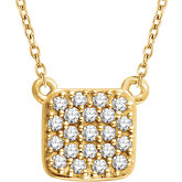 Diamond Square Cluster Necklace