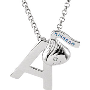 HERSHEYS KISSES Initial .004 CTW Diamond 18 inch Necklace