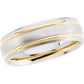 7mm Two Tone Wedding Band