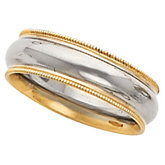 6 mm Two-Tone Comfort-Fit Milgrain Band