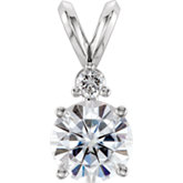 Charles & Colvard Moissanite® & Diamond Round 4-Prong Pendant with Accent
