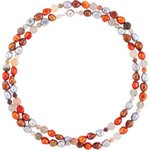 Freshwater Cultured Dyed Pearl & Natural Agate Beads Bracelet or Necklace