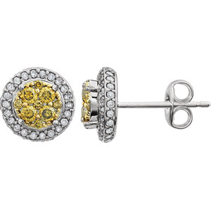 Diamond Halo-Styled Cluster Earrings