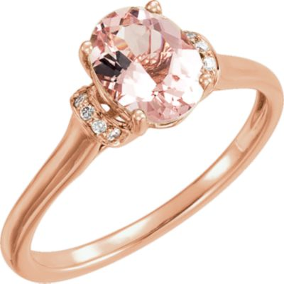 14kt Rose Morganite & .05 CTW Diamond Ring
