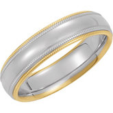 Two-Tone 5.5mm Comfort-Fit Double Milgrain Band