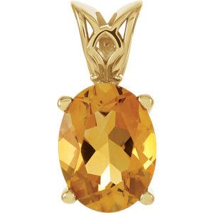 Genuine Citrine Pendant or Necklace