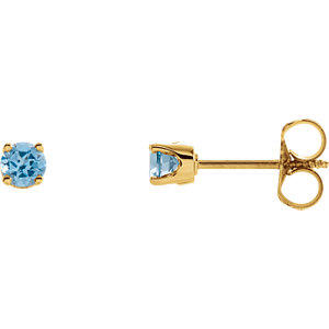 14kt Yellow Swiss Blue Topaz Youth Earrings